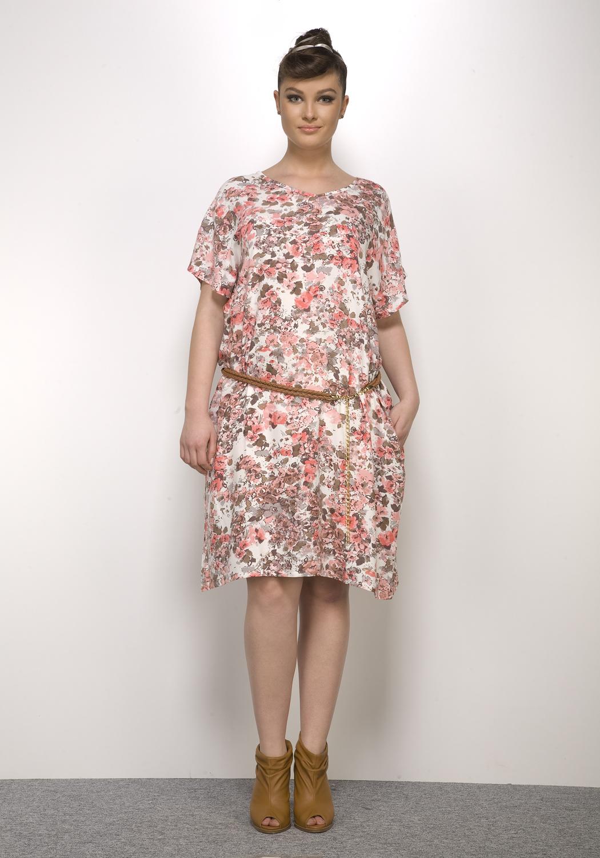 Hays Out Plus Size Kadın Dokuma Kısa Kollu Elbise