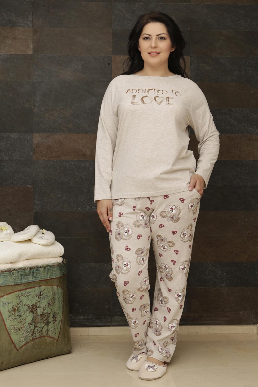Hays Plus Size Penye Kadın 2li Uzun Pijama Takımı