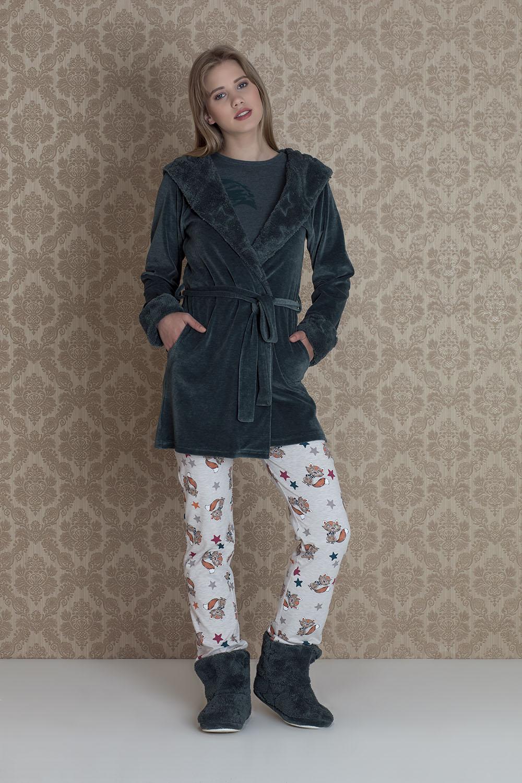 Hays Stellina Kadife Sabahlıklı 3lü Pijama Takımı