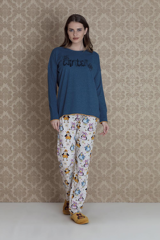 Hays Pingua Kadın Uzun Kollu Arkası Kesimli Uzun Pijama