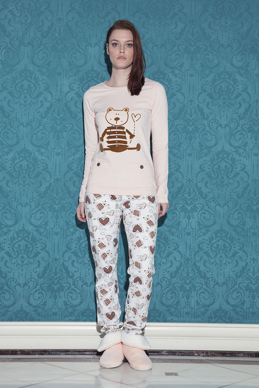 Hays Browni Kadın Uzun Kollu Uzun Pijama