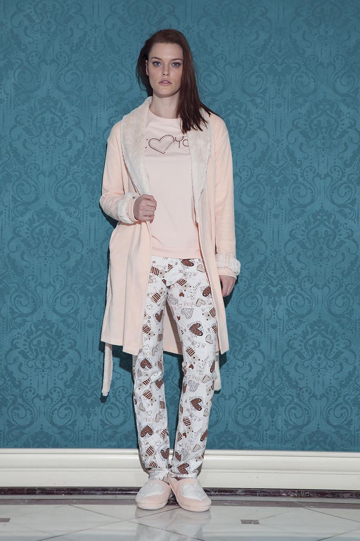Hays Browni Kadın Kadife 3lü Pijama Takımı