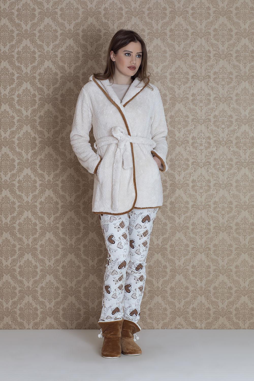 Hays Browni Kadın Wellsoft Sabahlıklı 3lü Pijama Takımı