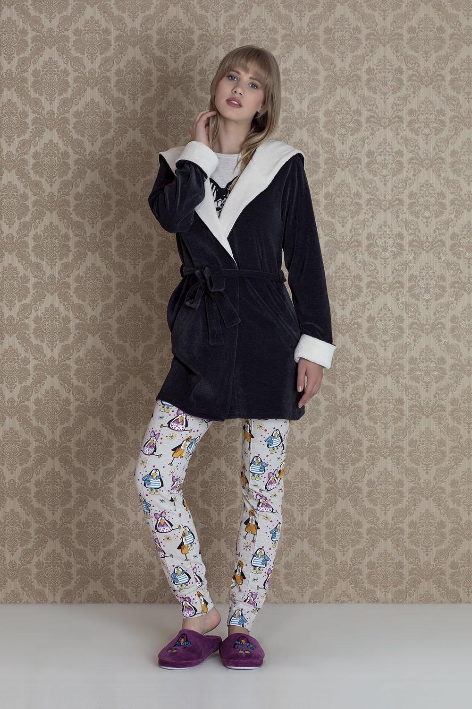 Hays Pingua Kadın Kadife Sabahlıklı 3lü Pijama Takımı
