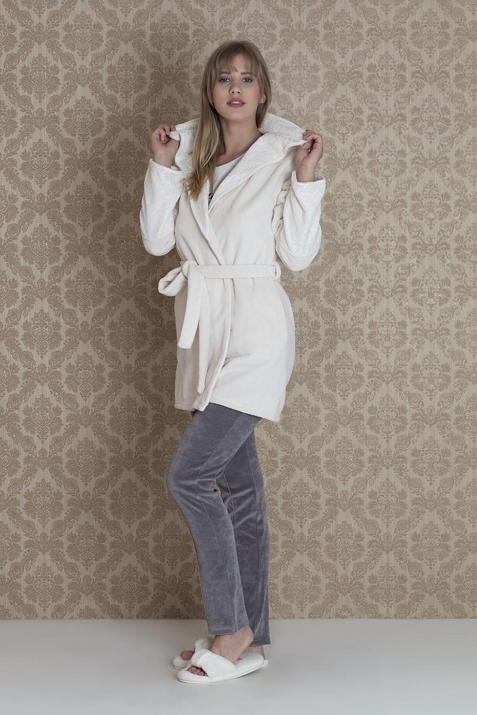 Hays Mona Kadın Ultrasoft Sabahlıklı 3lü Pijama Takımı