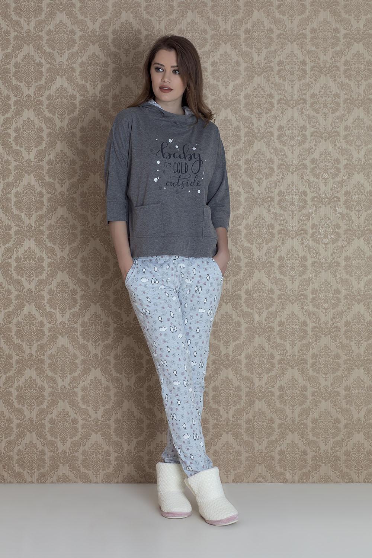 Hays Norda Kadın Kapşonlu Uzun Pijama Takımı