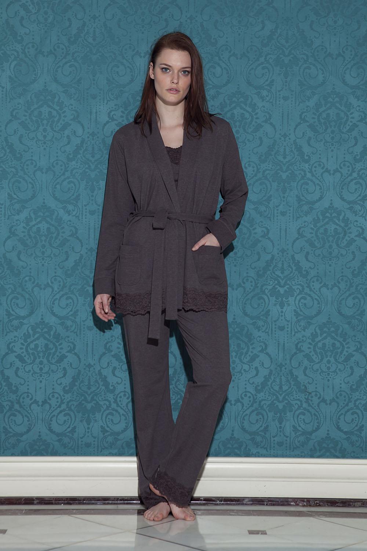 Hays Roma Kadın Sabahlıklı Uzun Pijama Takımı