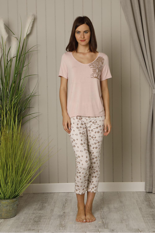 Hays Huma Kadın Kısa Kollu Üst Penye Uzun Pijama Takımı