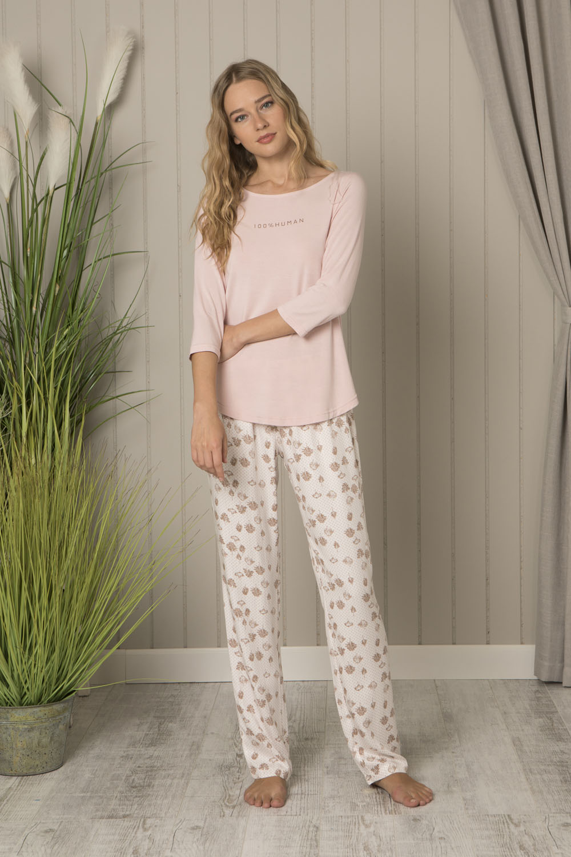 Hays Huma Kadın Yarım Kollu Üst Dokuma Alt Pijama Takımı