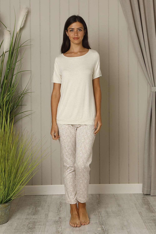 Hays Leora Kadın Kısa Kollu Üst Penye Uzun Midi Pijama Takımı