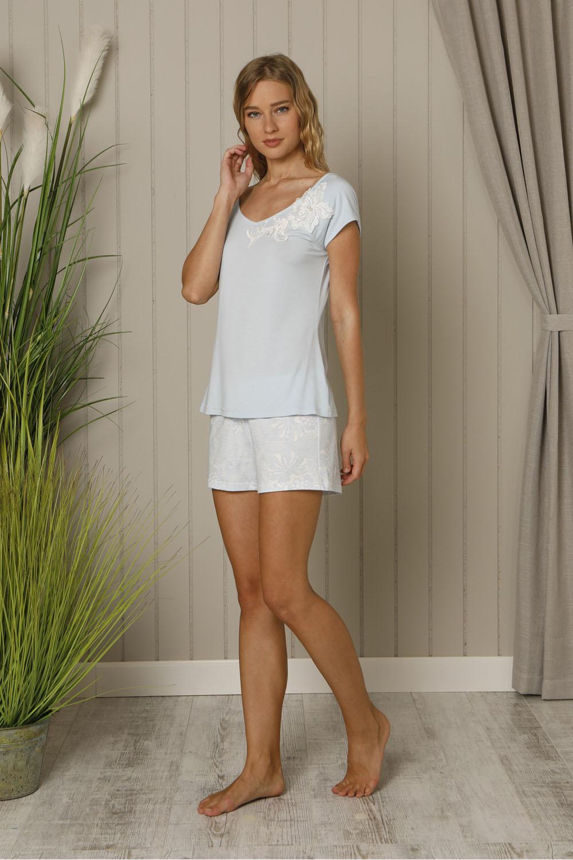 Hays Mai Kadın Kısa Kollu Üst Penye Şotlu Pijama Takımı