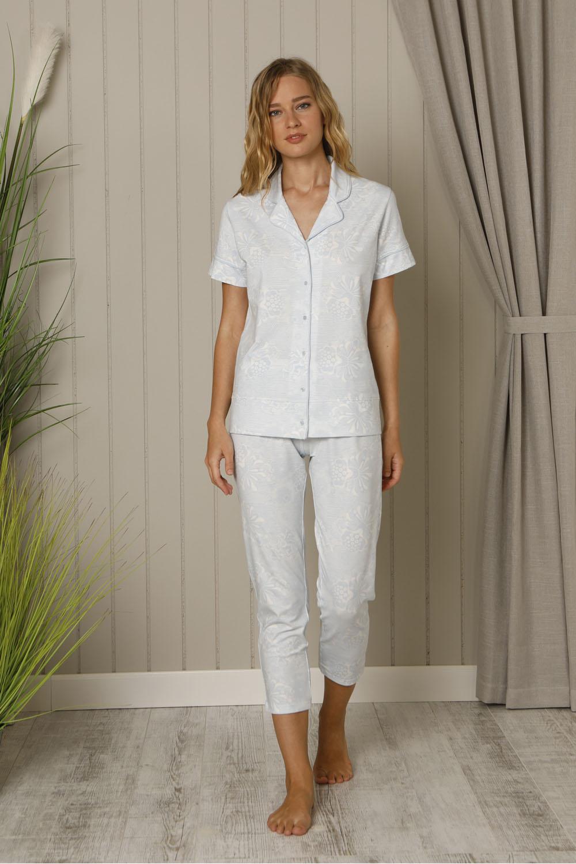 Hays Mai Kadın Gömlek Yakalı Midi Penye Pijama Takımı