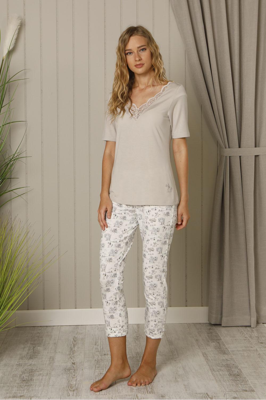 Hays Salva Kadın Dantel Detaylı Penye Midi Pijama Takımı