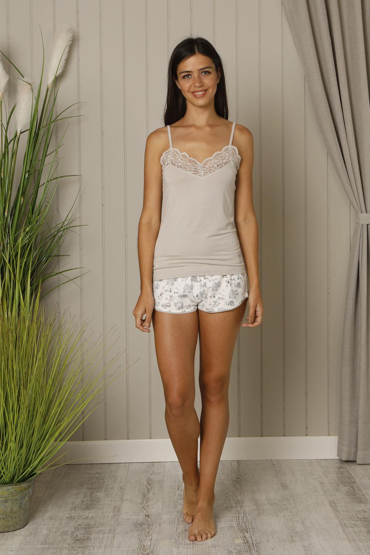 Hays Salva Kadın İp Askılı Penye Şortlu Pijama Takımı