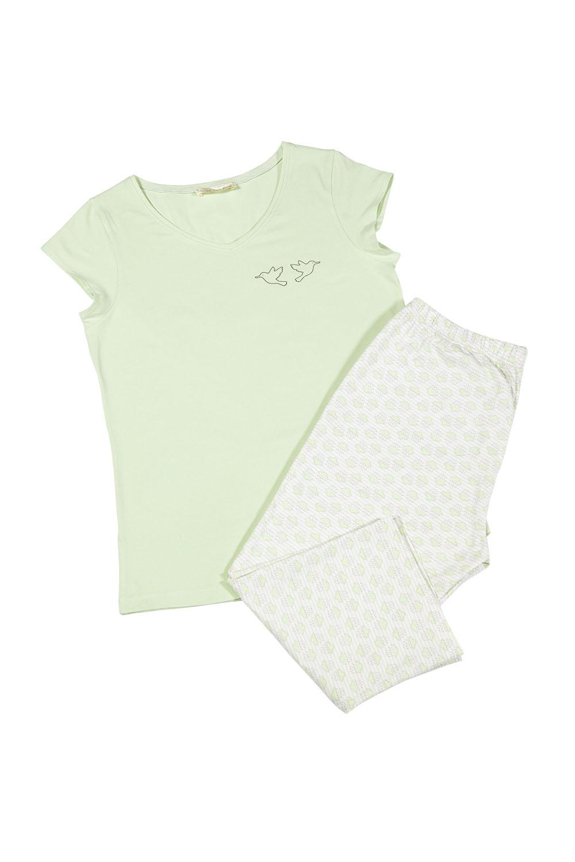 Hays Üst Yeşil Alt Bulut Baskılı Kapri Pijama Takımı