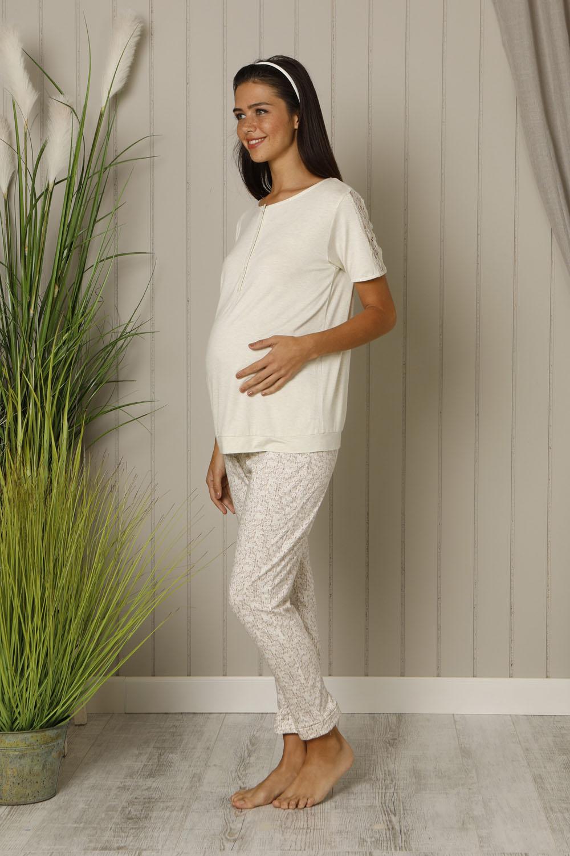 Hays Mom Kadın Dantel Detaylı Penye Midi Pijama Takımı