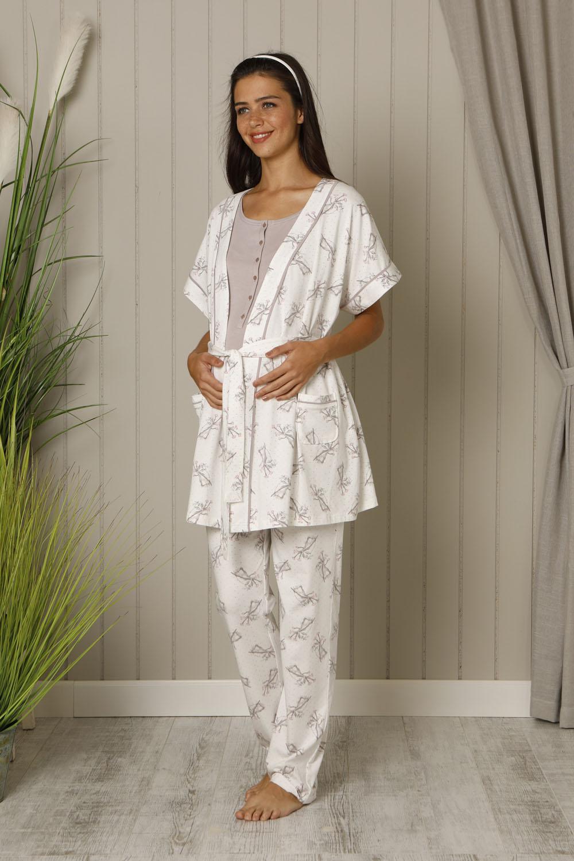 Hays Mom Kadın Sabahlıklı 3lü Penye Pijama Takımı