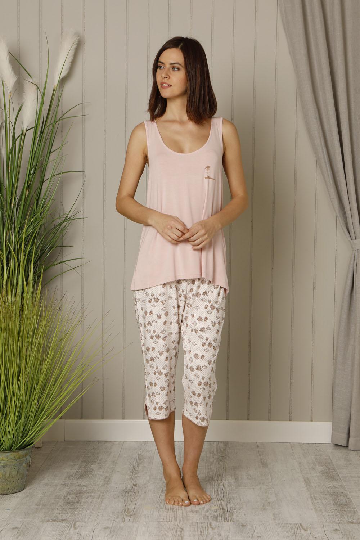Hays Plus Size Kadın Penye Kapri Pijama Takımı