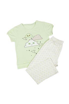 Hays Kız Çocuk Yeşil Üst Bulut Baskılı Uzun Alt Pijama Takımı
