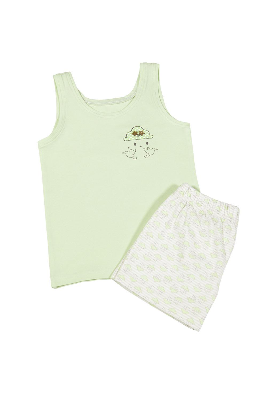 Hays Kız Çocuk Yeşil Üst Bulut Baskılı Şort Pijama Takımı