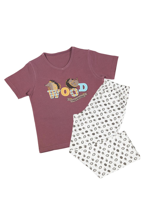 Hays Erkek Çocuk Üst Bordo Kirpi Baskılı Uzun Alt Pijama Takımı