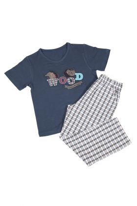 Hays Erkek Çocuk Üst Petrol Yeşili Ekose Baskılı Uzun Alt Pijama Takımı