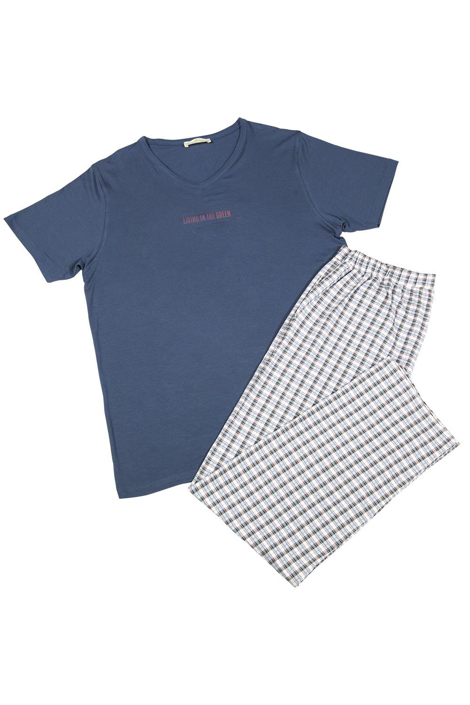 Hays Erkek Petrol Yeşili Kısa Kollu Üst Ekose Uzun Alt Pijama Takımı