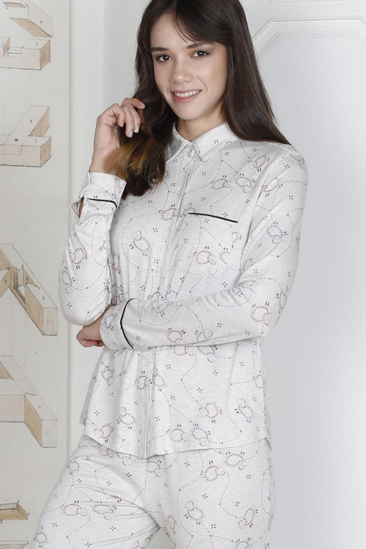 Hays Rebel Kadın Kuzu Baskılı Viscon Pijama Takımı