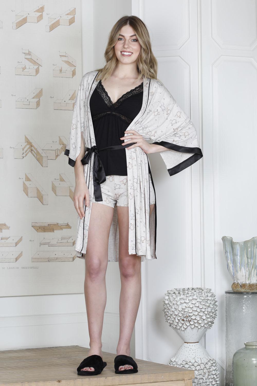 Hays Rebel Kadın Kuzu Desenli Sabahlıklı Şortlu Viscon Pijama Takımı