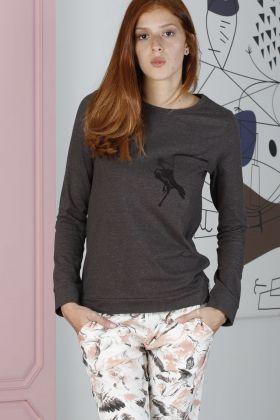 Hays Artisan Kadın Leylek Desenli Uzun Pijama Takımı