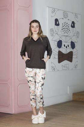 Hays Artisan Kadın Yarım Kollu Üst Midi Alt Pijama Takımı