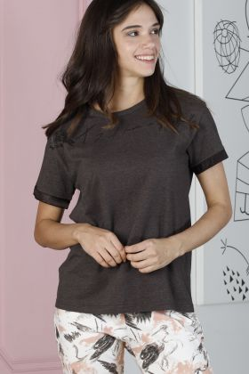 Artisan Kadın Kısa Kollu Üst Kapri Alt Pijama Takımı