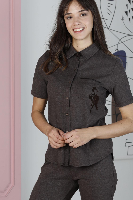 Hays Artisan Kadın Leylek Desenli Gömlek Yaka Üst Midi Takım