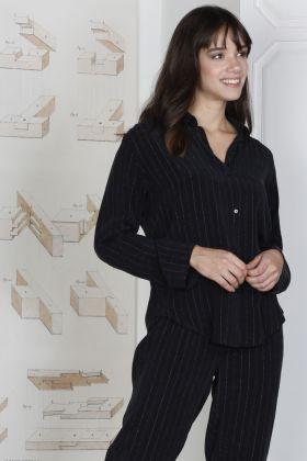 Hays Glamour Kadın Simli Cupro 2li Uzun Pijama Takımı