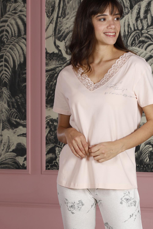 Hays Poet Kadın Dantel Detaylı Penye  Kapri Pijama Takımı