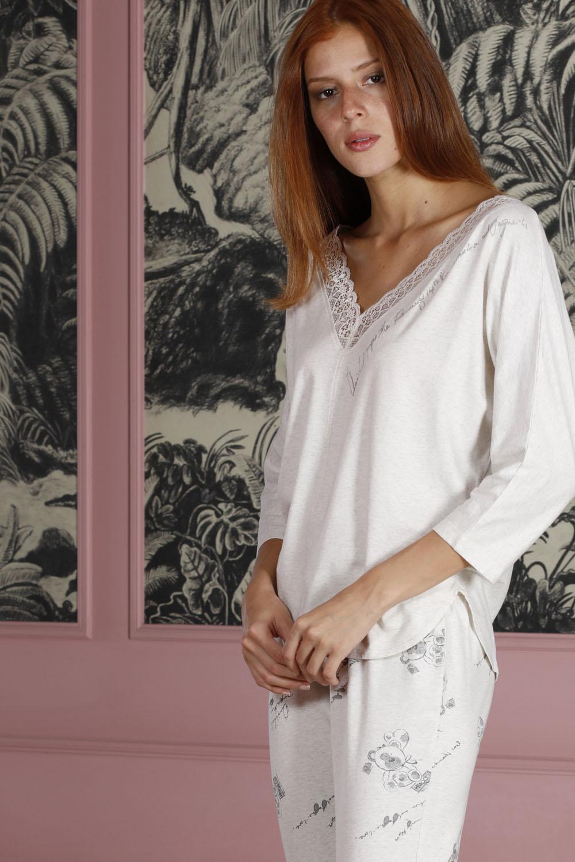 Hays Poet Kadın Dantel Detaylı Penye Midi Pijama Takımı