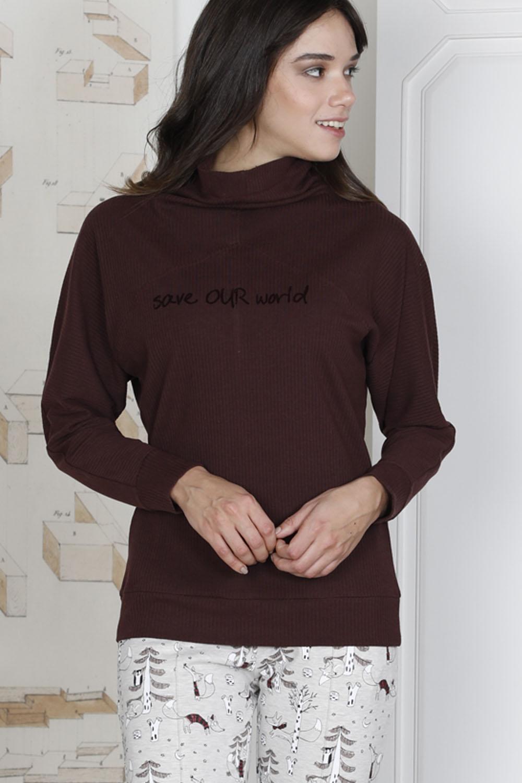 Hays Save Kadın Penye Ribana Uzun Pijama Takımı