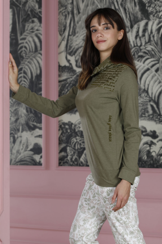 Hays Green Kadın Boğaz Detaylı Penye Uzun Pijama Takımı