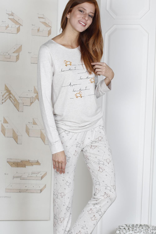 Hays Rebel Kadın Kuzu Baskılı 2li Uzun Pijama Takımı