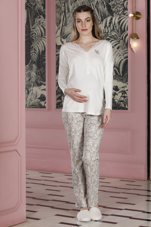 Hays Mom Dantel Yaka Detaylı Penye 2li Uzun Pijama Takımı