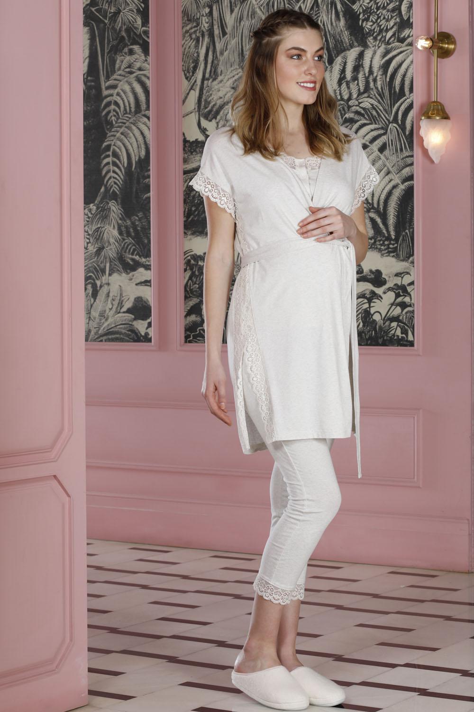 Hays Mom Dantel Detaylı Sabahlıklı 3lü Modal Pijama Takımı