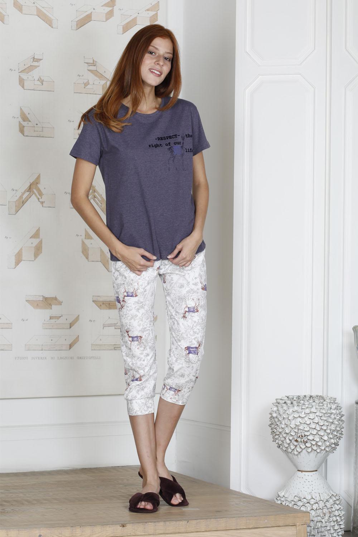 Hays U.D.A.W Kadın Geyik Desenli Penye Kapri Pijama Takımı