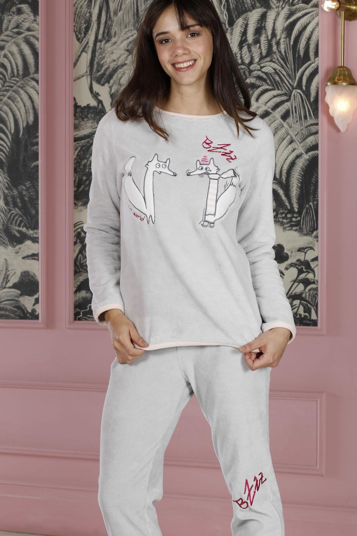 Hays Homewell Kadın Wellsoft Üst Kadife Alt 2 li Uzun Pijama Takımı