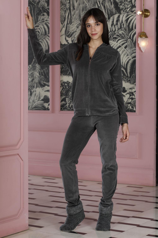 Hays Homewell Kadın Kadife 2li Uzun Pijama Takımı