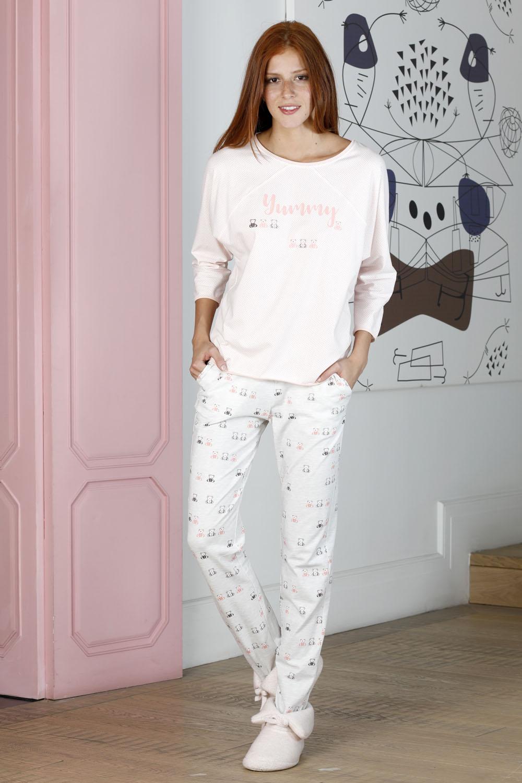 Hays Friendly Kadın Pembe Puan Baskılı Penye Pijama Takımı