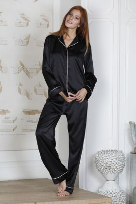 Hays Glamour Saten Kadın 2li Uzun Pijama Takımı