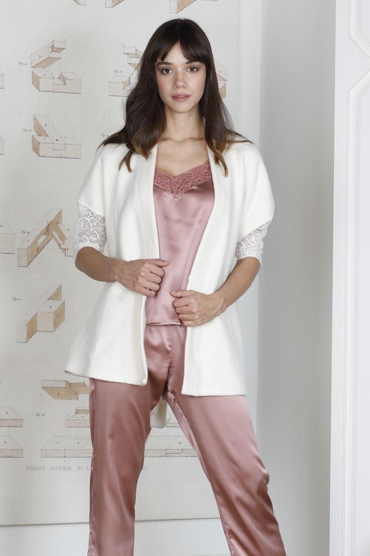 Hays Saten Kadın Dantelli Triko Sabahlıklı 3lü Pijama Takımı