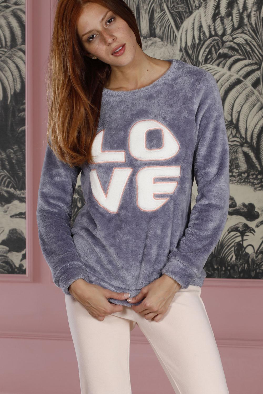 Hays Homewell Kadın Wellsoft Üst Kadife Alt Pijama Takımı
