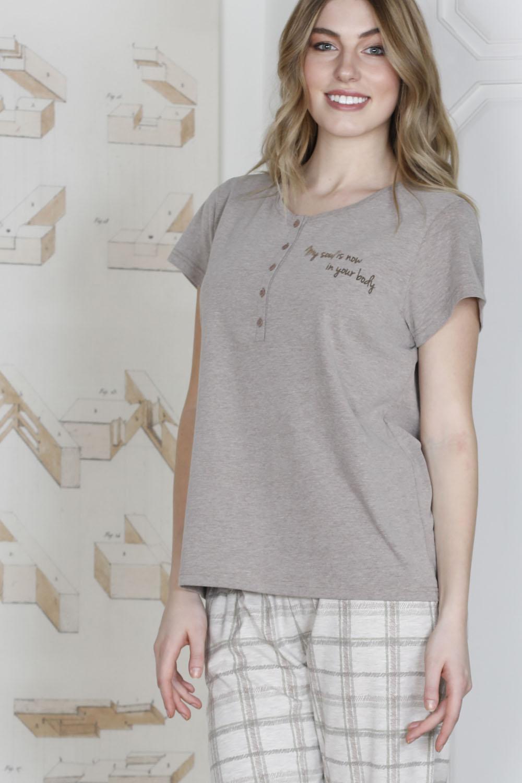 Hays Plus Size Kadın Ekose Desenli Penye Kapri Pijama Takımı