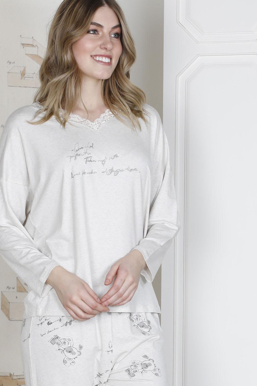 Hasy Plus Size Kadın Yakası Dantel Detaylı Modal Pijama Takımı